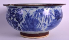 An 18th Century Chinese Blue And White Bowl Painted