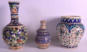 A 19th Century Iznik Pottery Jar Together With Another