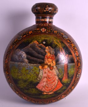 A 19th Century Persian Lacquered Tin Flask Painted With