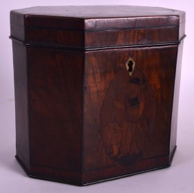 A George Iii Flame Mahogany Tea Caddy Unusually Inset