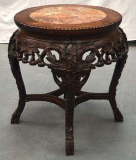 A 19th Century Chinese Hardwood Marble Inset Stand With