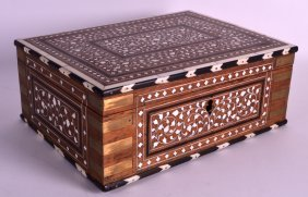 A Mid 19th Century Anglo Indian Ivory Inlaid Hardwood