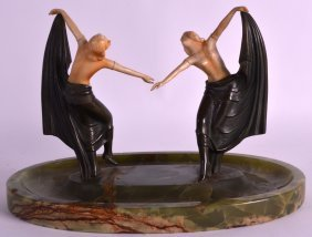 A Good Art Deco Cold Painted Bronze And Ivory Figural