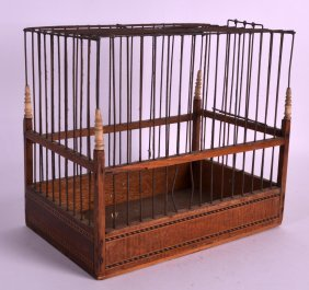 A Rare George Iii Linnet Cage With Crossbanded Inlay