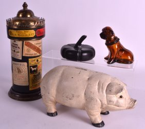 A Cold Painted Cast Iron Money Box In The Form Of A