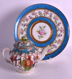 A 19th Century Sevres Style Plate Together With A