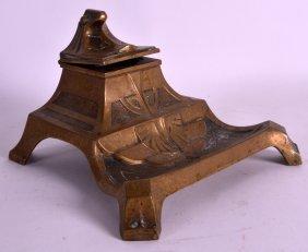 An Art Nouveau Bronze Desk Standing Inkwell All Over