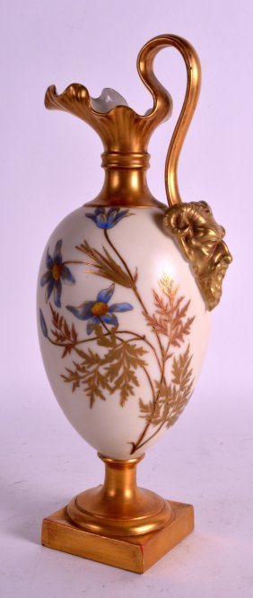 A Late 19th Century Royal Worcester Satyr Mask Ewer