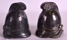 A Pair Of Novelty Victorian Silver Plated Inkwells In