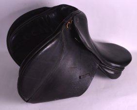 A Large Vintage Black Leather Policemans Horse Saddle.