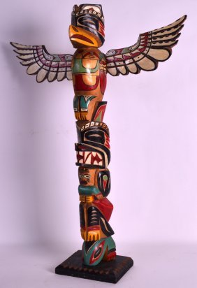 A Vintage North American Painted Totem Pole With Bird