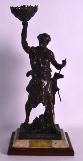 A 19th Century French Patinated Spelter Figure Of A