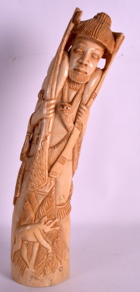 A Large Early 20th Century Carved Ivory Figure Of A