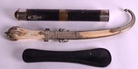 A Late 19th Century White Metal Mounted Bone Cased