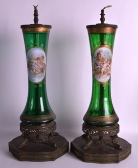 A Pair Of Late 19th Century Bohemian Green Glass Vases