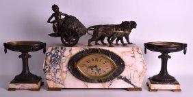 An Art Deco Spelter And Veined Marble Clock Garniture