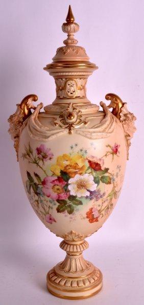 A Fine Royal Worcester Blush Ivory Porcelain Vase And