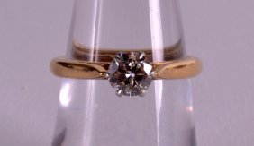 A Good 18ct Yellow Gold And Diamond Solitaire Ring.