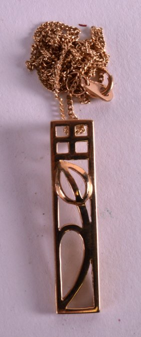 A Stylish 9ct Gold Mackintosh Pendant And Chain.