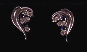A Pair Of 18ct White Gold Sapphire And Diamond