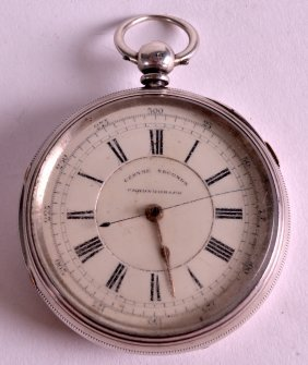A Large 19th Century Silver Chronograph Watch. 2.25ins