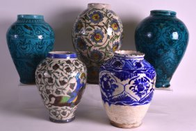 A Group Of Five Early 20th Century Persian Pottery
