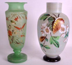 A Victorian Enamelled Opaline Glass Vase Together With