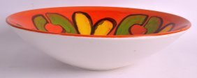 A Retro Poole Pottery Fruit Bowl Painted With Yellow