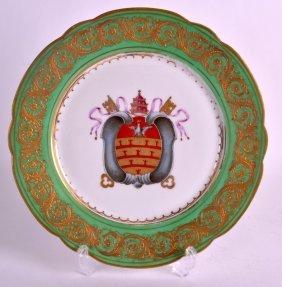 A 19th Century Paris Porcelain Armorial Plate Painted