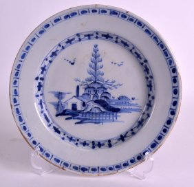 An 18th Century Delft Pottery Plate Painted With A Hut