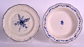An 18th Century French Blue And White Plate Together