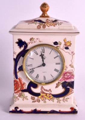 An Unusual Masons Pottery Mantel Clock Decorated With