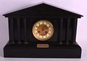 A Large Victorian Black Slate Mantel Clock With