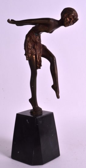 An Art Deco French Spelter Figure Of A Female Modelled