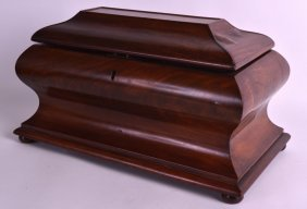 A Large Mid Victorian Carved Mahogany Sarcophagus