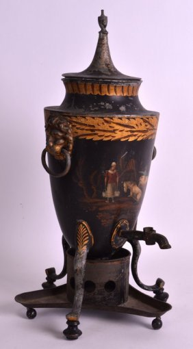 A Victorian Toleware Samovar Painted With Two Figures
