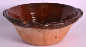 A Large Early 20th Century Terracotta Cream Bowl With