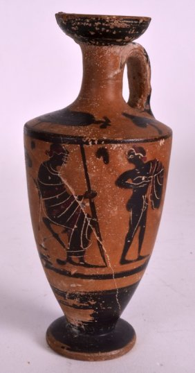 An Early Italian Terracotta Ewer Painted With Classical