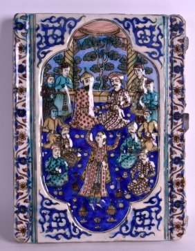 A Late 19th Century Iranian Qajar Pottery Tile Modelled