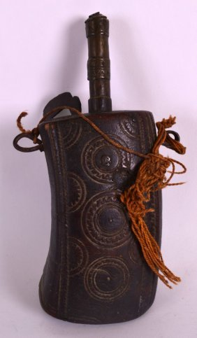 An Unusual Early 20th Century African Horn Powder Flask