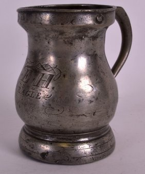 An Unusual Antique English Pewter Tankard Inscribed W E