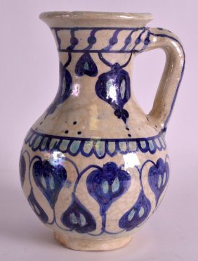A Central Asian Lustre Pottery Jug C1900 Painted With