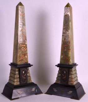 A Pair Of 19th Century French Onyx And Marble Obelisks