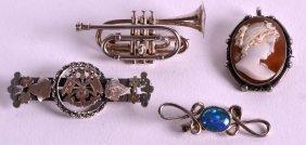 A Rare Novelty Edwardian Silver 'trumpet' Brooch