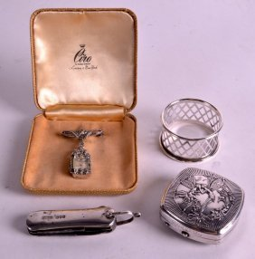 An Unusual Antique Silver Pocket Knife Together With A