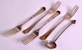 A Set Of George Iii Silver Dessert Forks Together With