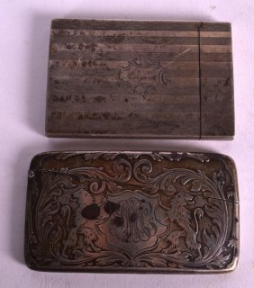 A Victorian Silver Calling Card Case Together With