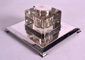A Large Art Deco Gentlemans Silver Desk Inkwell Of