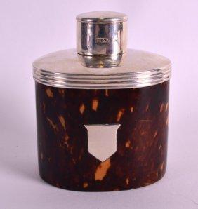 A Lovely Edwardian Silver Mounted Tortoiseshell Tea