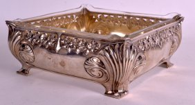 An Art Nouveau Continental Silver And Clear Glass Bowl